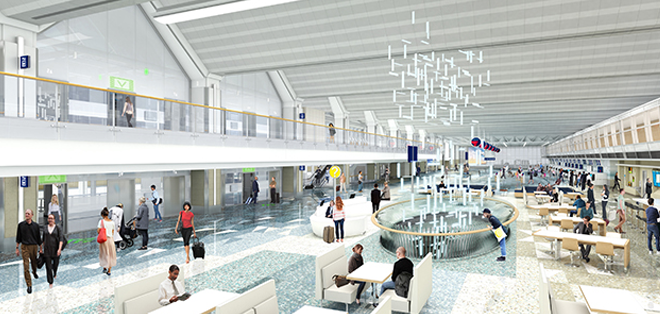Rendering of a reimagined MSP airport lobby